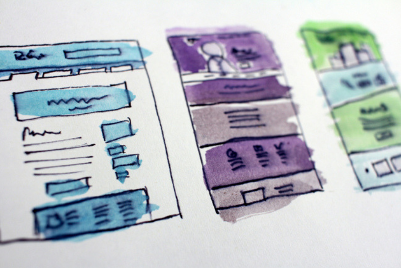 Wireframe designs in colour