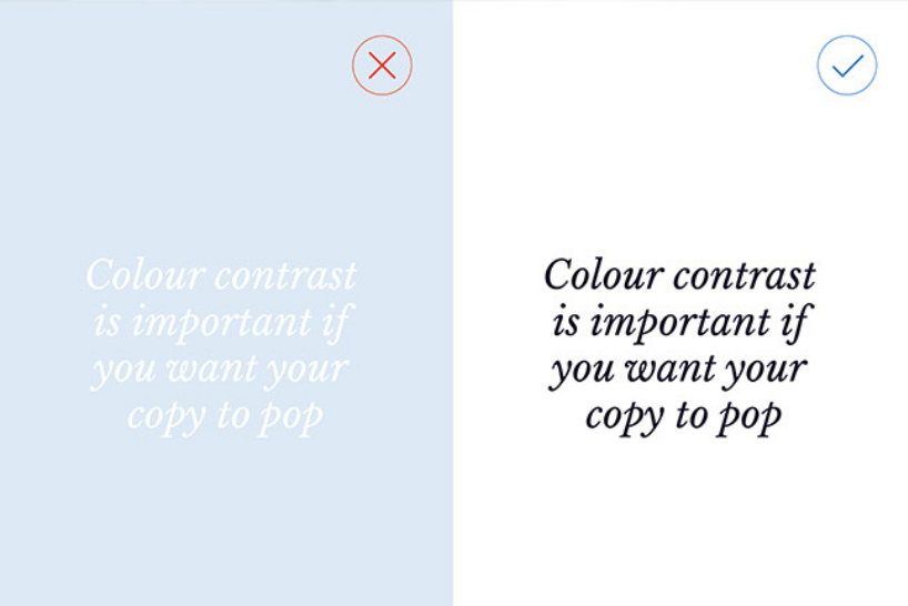 Colour contrast example