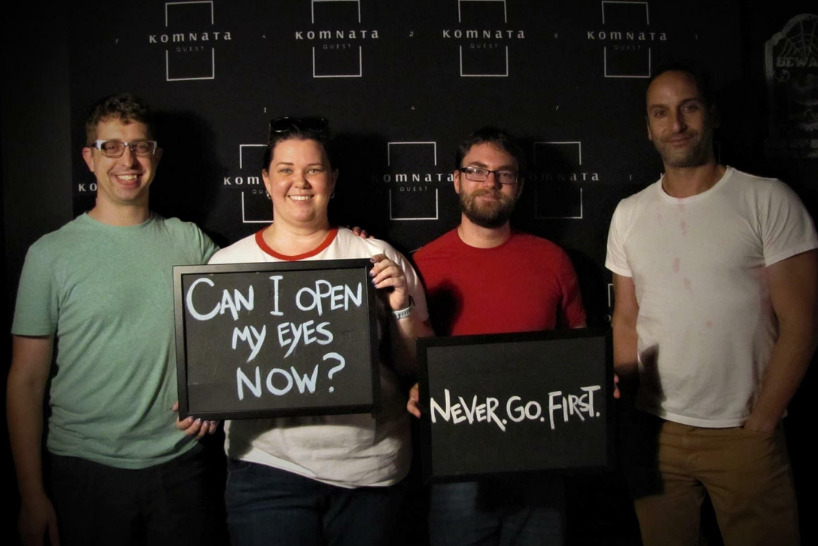 Amanda harris and three friends in an escape room
