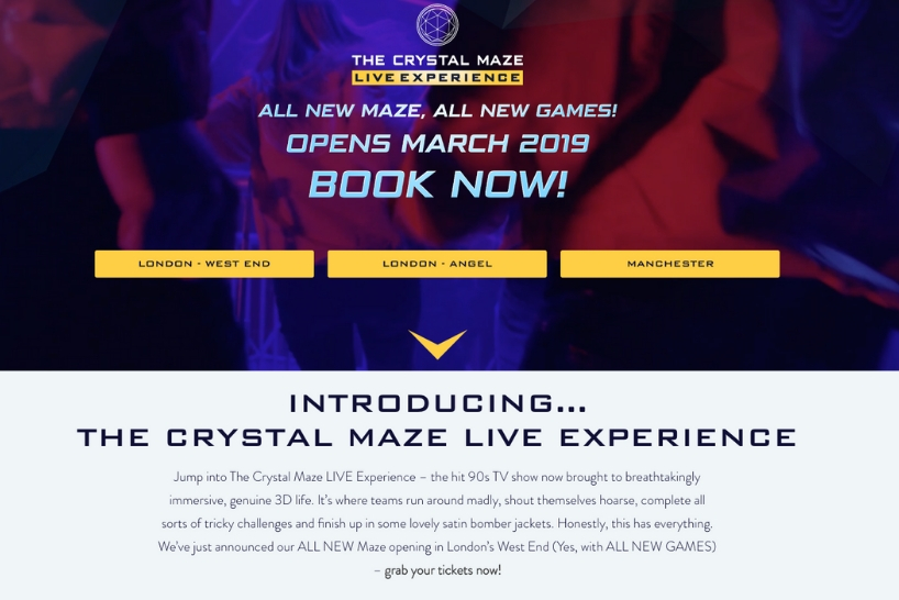 The Crystal Maze LIVE Experience website