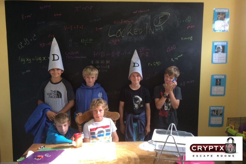 Kids at CryptX escape rooms