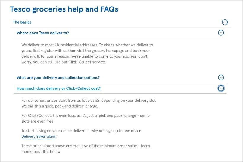 Tesco-FAQ-page